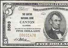 1929 $5  ❀❀CANTON, IL❀❀   THE CANTON NATIONAL BANK    HARD TO FIND!