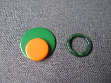New listing Vintage galalith marbled green ring and orange & green applique jewelry making