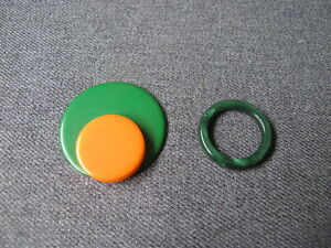 Vintage galalith  marbled green ring and orange & green applique jewelry making