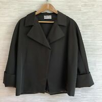 Dusan Small Jacket Olive Gray Wool Silk Blend Open Blazer Lagenlook Italy