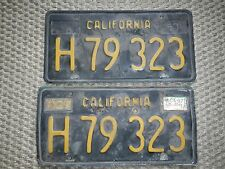 Vintage Black/Gold DMV Clear California License Plates H79323 Set Pair Embossed