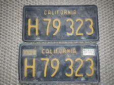 Vintage Black/Gold DMV Clear California License Plates H79323 Set Pair Embossed