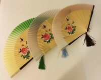 Folding Hand Held Bamboo Silk Fan with Hand-Painted Peony Flower and Butterfly