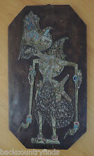 """Antique Handcarved Wood Indonesian Siloutte Puppet on 19"""" Plank"""