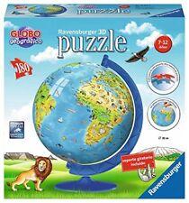 Ravensburger 12341. Globo geográfico. Puzzle bola 3D con soporte. 180 piezas
