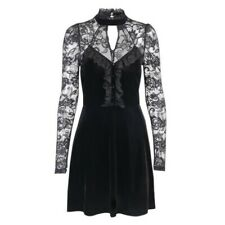 Lolita Halter Women Gothic Witch Dress Black Velvet Lace Long Sleeve Sexy