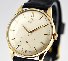 1950' VINTAGE OMEGA LARGE 18K SOLID ROSE GOLD MANUAL WIND CLASSIC GENTS WATCH