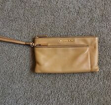 Michael Kors Riley Clutch Wristlet Pebbled Leather Zip Wallet Peanut Color