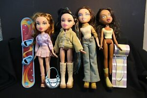 """BRATZ Dolls  Lot of 4 - by MGA - 9"""" tall -  Comes with Sled/Snowboard"""