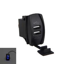 Dual Blue-Lit 5V 3.1A USB Charger Dash-Mount Rocker Switch for Cars Trucks Boat