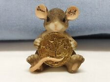 Charming Tails Artist Signed Dean Griff Mouse & Coin Pin In Excellent Condition