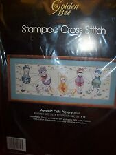 Golden Bee AEROBIC CATS Stamped Cross Stitch Picture Kit  30 x 10 NEW IN PACKAGE