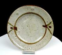 "STUDIO ART POTTERY SIGNED GREY AND BROWN SPECKLED STONEWARE 7 1/4"" PLATE"