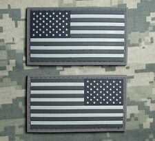 US AMERICAN FLAG RUBBER PVC LEFT RIGHT REVERSE SHOULDER ACU LIGHT HOOK 2 PATCH