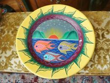 Pottery platter, wall decor, hand painted fishes , sea and sun [*]