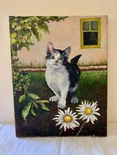 Original Cat Painting - Yvette in the Garden