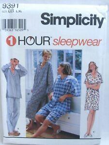 Simplicity 1 Hour Pattern 9391 Mens Womens Teens Sleepwear Pajamas Uncut Sz L XL
