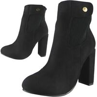Sale New Ladies Womens Faux Suede Chunky High Block Heel Ankle Boots Shoes Size