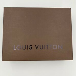 """Authentic Louis Vuitton Empty Brown Gift Box with Tissue Paper 12"""" x 9.25"""" x 4"""""""