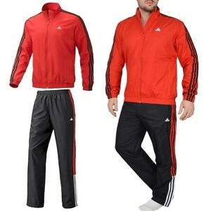 Adidas Herren Trainingsanzug Sport Anzug Jogginganzug Set Jacke Hose rot/schwarz