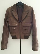 TOPSHOP Brown Leather Jacket *Size 8* RRP £110