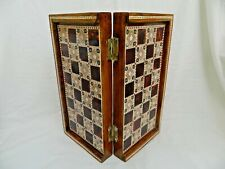"""Egyptian Inlaid Mother Of Pearl Wooden Chess Backgammon Board Handmade 11.5"""""""