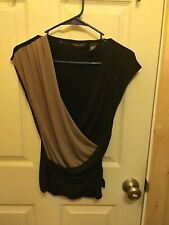 New York & Company XS Brown And Black Top