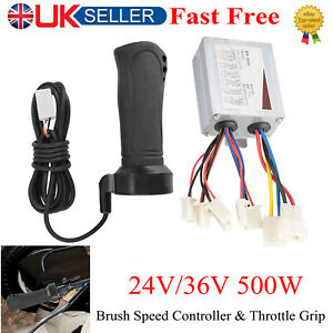 24V 36V 500W Brushed Motor Controller Electric Speed Box Bicycle Scooter Black