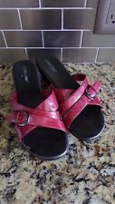 Cabin Creek Red Faux Patent Leather Strappy Wedge Sandals Women's Size 8.5M