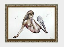 aquarelle watercolor A4 nude female drawing originale nu women woman girl new 5