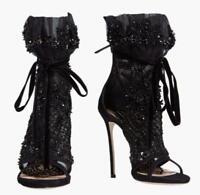 Womens Rhinestone Peep Toe Black New High Heel Ankle Boots Sandals Shoes 2019 YH