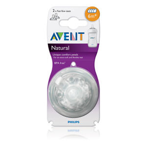 Philip Avent Natural Teat Fast Flow 2pk 6 months+ BPA Free Reduces Colic
