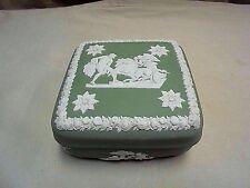 "Vintage Wedgwood England GREEN JASPERWARE Ulysses Horse & Chariot Trinket Box 4"""