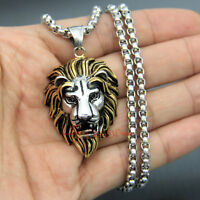 316L Stainless Steel Silver Gold Men's Lion Head Necklace Pendant Jewelry Gift