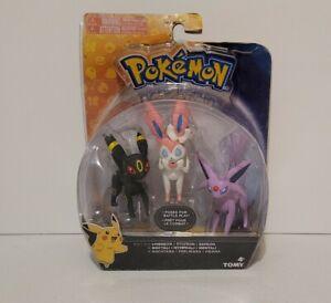 "Pokemon TOMY 3"" Action Pose Espron Sylveon Umbreon Mini Figure 3 Pack Damged Box"