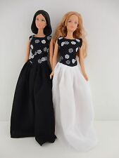 A Set of 2 Wonderful Dresses in a Black and White Theme Made to Fit the Barbie D