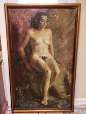 Ingeborg Hoyrup oil on canvas. Very large (33 x 60), nude.