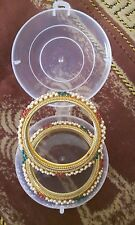 Bollywood Style/ Indian Jewellery/ Party Wear/ 2 Gold Bangles.Pearls/ruby