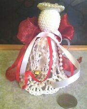 """Handmade Hand Crotchet 4.5""""  Angel Bell Ornament ~ Made in USA ~ Vintage New"""