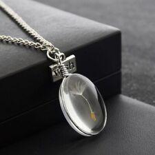 Glas Anhänger Pusteblume Löwenzahn Silber Kette Glaskugel Wish 3D Wünsche