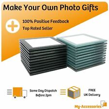 More details for square glass drinks coaster black silver 80mm photo insert diy make your own