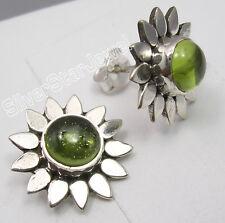 "925 Solid Silver Real PERIDOT Stone FLOWER PIERCED Studs Posts Earrings 0.6"""