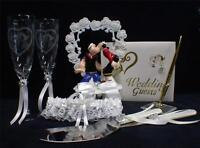 Details about  /Blue Wedding Gift LOT Heart to heart Cake Topper Server set Toasting Glasses