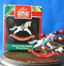 Hallmark Miniature Ornament 1991 Rocking Horse Value $24.00 Grey Arabian