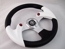 WHITE Steering Wheel with Adapter Ez-go POLARIS Ranger Club car Harley Kubota