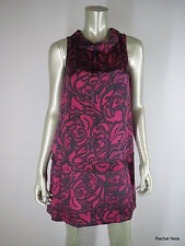 MARC BY MARC JACOBS M Hammered Silk Floral Burgundy Dress Medium EUC