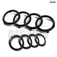 Gloss Black Audi Front Grille/Rear Boot Rings Emblem Badge Q2 Q3 Q5 Q7 Q8 A6 A7