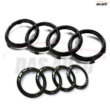 Gloss Black Audi Front Grille/Rear Boot Rings Emblem Badge Q2 Q3 Q5 Q7 Q8 A6 A7