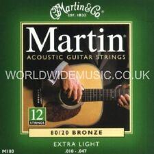 Cuerdas Guitarra Acústica Bronce Martin M180 Extra Luz Calibre 12 String Set 10-47