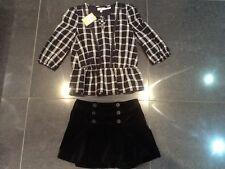 NWT JUICY COUTURE Nuevo & GEN. NEGRO VELOUR Falda & Camisa De Algodón Juego